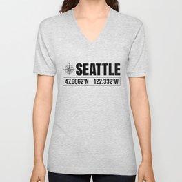 Seattle City GPS Coordinates Souvenir USA Travel Gift Idea Unisex V-Neck