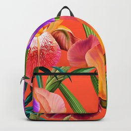 Colorful irises in a tropical garden Backpack