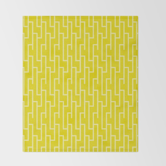 Yellow latticework pattern Throw Blanket