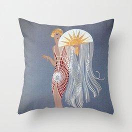 """1920's Art Deco Design """"The Flapper"""" Throw Pillow"""