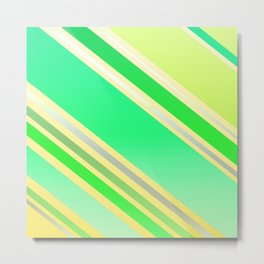 Shiny Stripes in Green and Yellow Metal Print