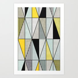 Colorful Concrete Triangles - Yellow, Blue, Grey Art Print