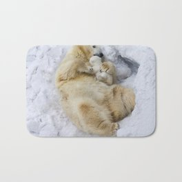 Polar bear with cub Bath Mat