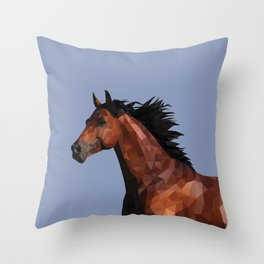 Polygonal Horse Throw Pillow