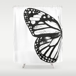 Monarch Butterfly | Left Butterfly Wing | Vintage Butterflies | Black and White | Shower Curtain