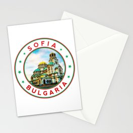 Sofia, Bulgaria, Alexander Nevsky Cathedral, circle, white Stationery Cards