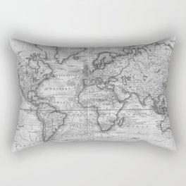Black and White World Map (1801) Rectangular Pillow