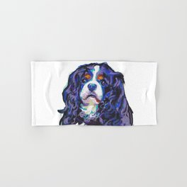 Tri-color Cavalier King Charles Spaniel Dog bright colorful Pop Art by LEA Hand & Bath Towel