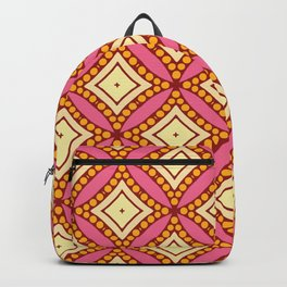 Kitschy Mid Century Pattern in Pink and Yellow Backpack