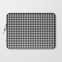 Classic Black & White Small Diamond Checker Board Pattern Laptop Sleeve