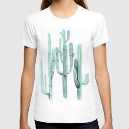 Turquoise Cactus Watercolor Painting T-shirt