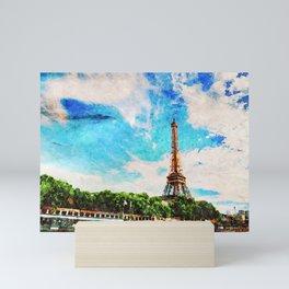 Watercolor of Eiffel Tower Mini Art Print