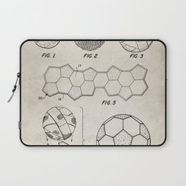 Soccer Ball Patent - Football Art - Antique Laptop Sleeve