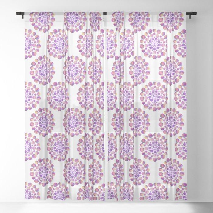 Circles Mandala - Purple Sheer Curtain