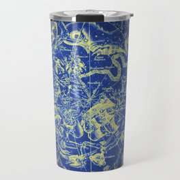 Yellow on Blue Infinity Vintage Astrology Star Map Travel Mug