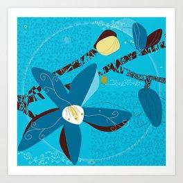 Blue Saucer Magnolia Art Print