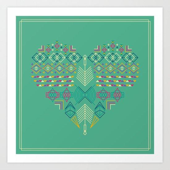 Aztec Heart Art Print