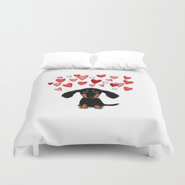 Cute Dachshund Puppy with Valentine Hearts Duvet Cover