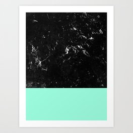 Mint Meets Black Marble #1 #decor #art #society6 Art Print