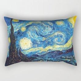 Starry Night Tardis Art Painting Rectangular Pillow