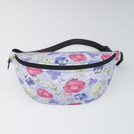 Rose Ranunculus Pansy Flowers over Pale Blue Fanny Pack