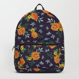 Dark Floral: Marigolds and Borage Backpack