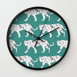 Tiger Print Teal Wall Clock