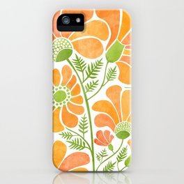 Happy California Poppies / hand drawn flowers iPhone Case
