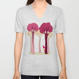 colorful forest with cute dwarf Unisex V-Neck