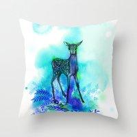 bambi Throw Pillows featuring bambi by anneamanda