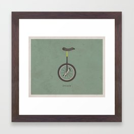 Unicycle (with text) Framed Art Print