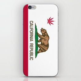 California Republic state flag with red Cannabis leaf iPhone Skin