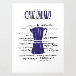 Kitchen art illustration different types Italian coffee Art Print