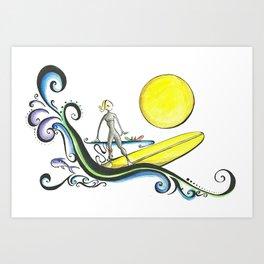 Girl Surfer Art Print