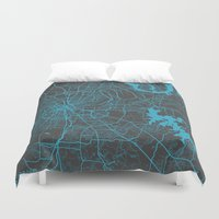 nashville Duvet Covers featuring Nashville by Map Map Maps