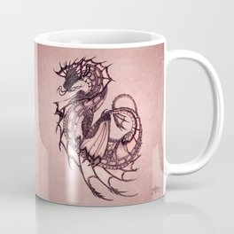 """Tsunami"" by Amber Marine ~ Sea Dragon (Coral Version) ~ Graphite Illustration, (Copyright 2005) Coffee Mug"