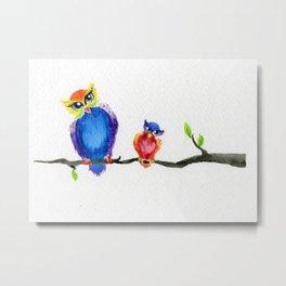 Little Rainbow Owls Metal Print