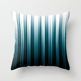 Tropical Dark Teal Inspired by 2020 Color Oceanside SW6496 Soft Vertical Blurred Line Pattern Throw Pillow