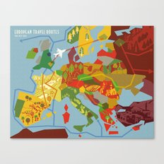 Abstract European Travel Map Canvas Print