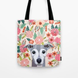 Italian Greyhound floral pet portrait wall art and gifts for dog breed lovers Tote Bag