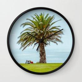 Love, couple, ocean view & palm tree Wall Clock