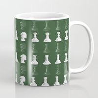 chess Mugs featuring Chess - Green by ijsw
