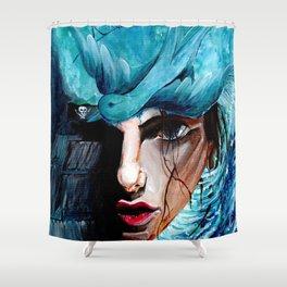 A Girl, a Pearl and a Sparrow Shower Curtain