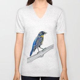 Bird Inspiration: Tickell's Blue Flycatcher Unisex V-Neck
