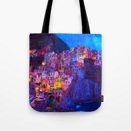 Manarola Cinque Terre Italy at Night Tote Bag