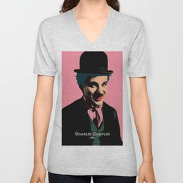 Charlie Chaplin Pop Art Style Picture Unisex V-Neck