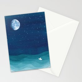 Moon Phase, teal watercolor Stationery Cards