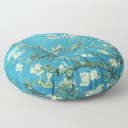 Vincent van Gogh Blossoming Almond Tree (Almond Blossoms) Light Blue Floor Pillow