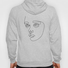 minimal line illustration of a Cute girl face Hoody