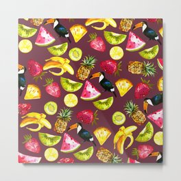 Burgundy yellow pink watercolor tropical bird fruit Metal Print